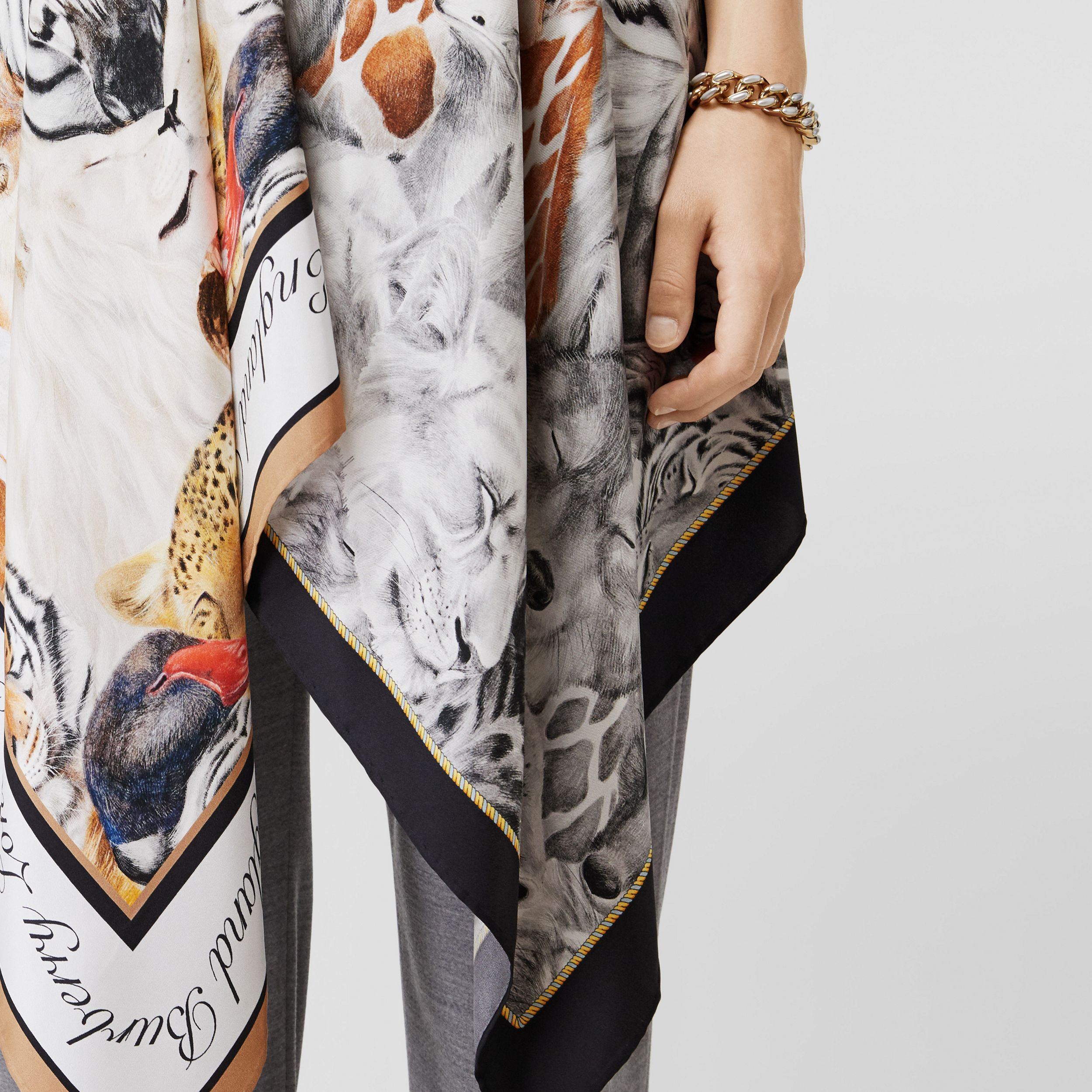 Animalia Print Silk Scarf Panel Bodysuit in Grey Melange - Women | Burberry - 2