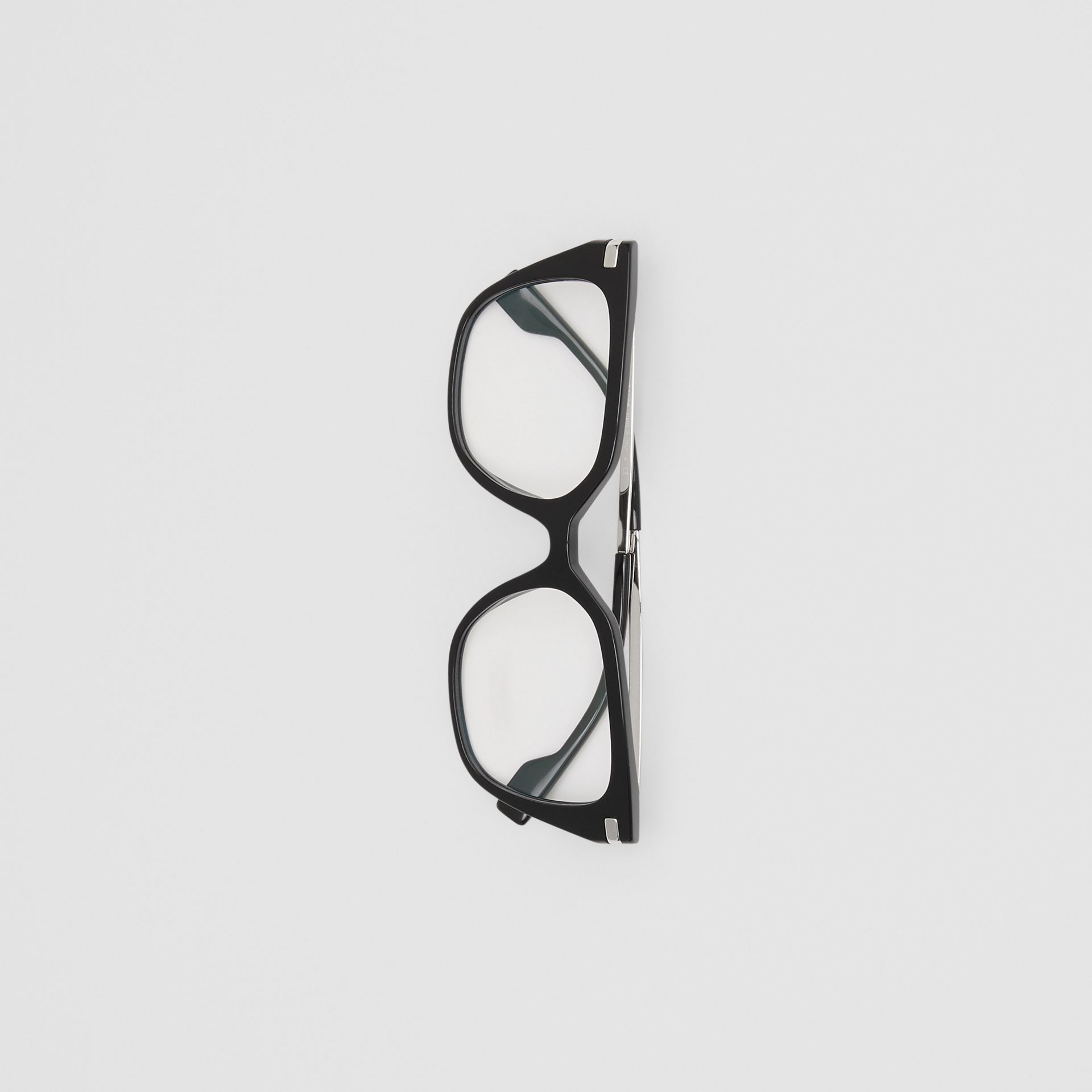Monogram Motif Square Optical Frames in Black - Women | Burberry Canada - gallery image 3