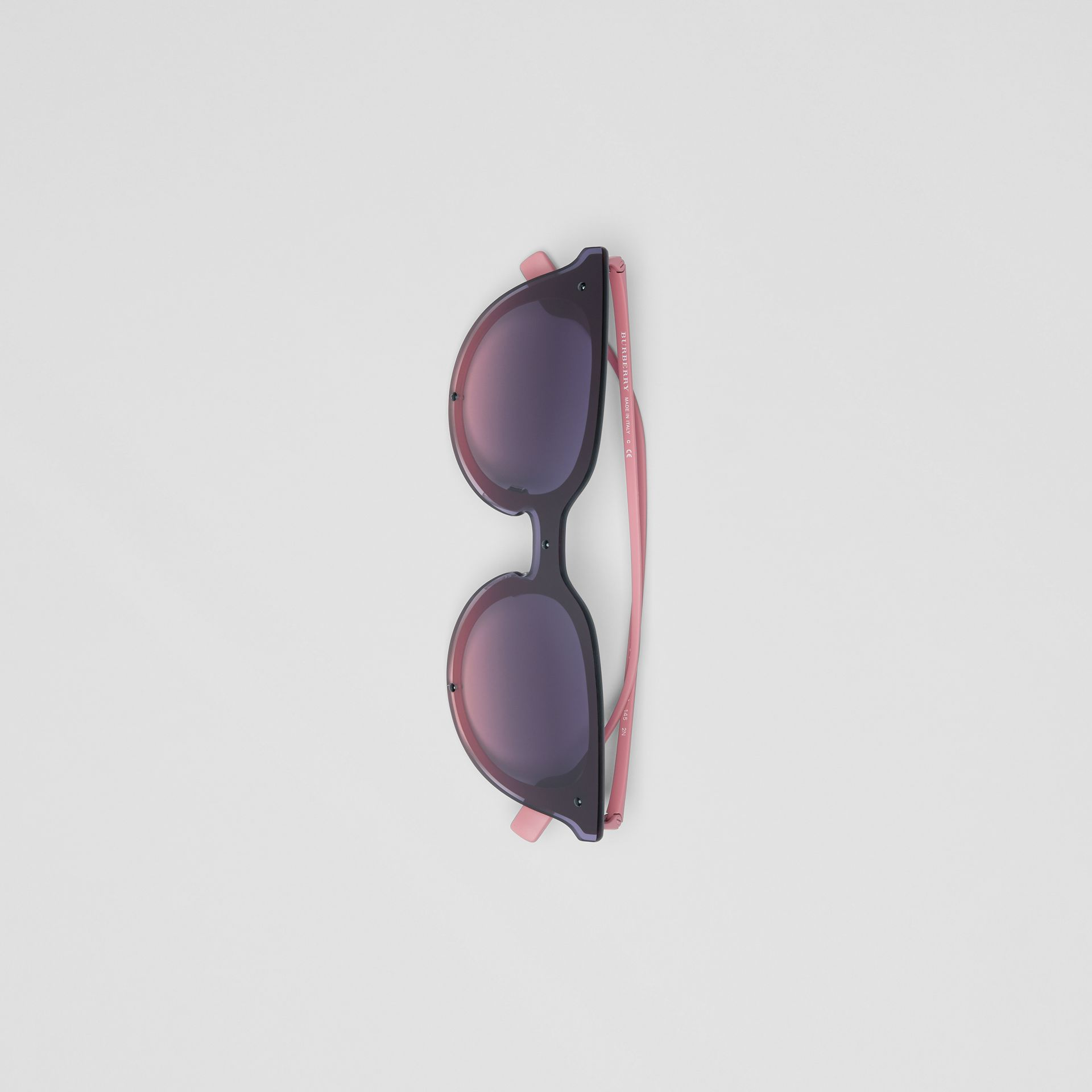 Keyhole Round Frame Shield Sunglasses in Pink - Women | Burberry - gallery image 3