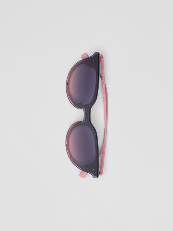 Keyhole Round Frame Shield Sunglasses in Pink - Women | Burberry - cell image 3