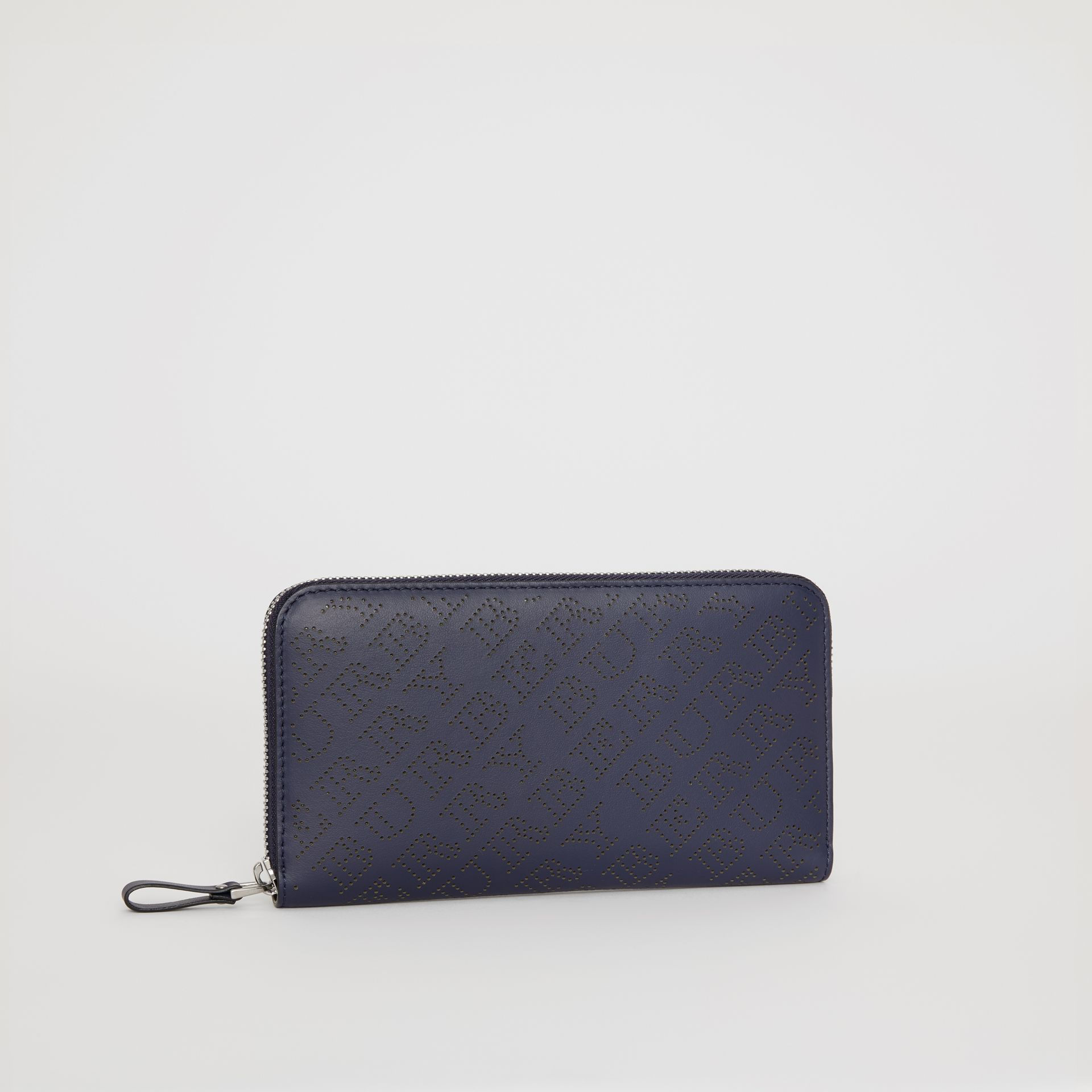 Perforated Leather Ziparound Wallet in Navy - Women | Burberry - gallery image 4