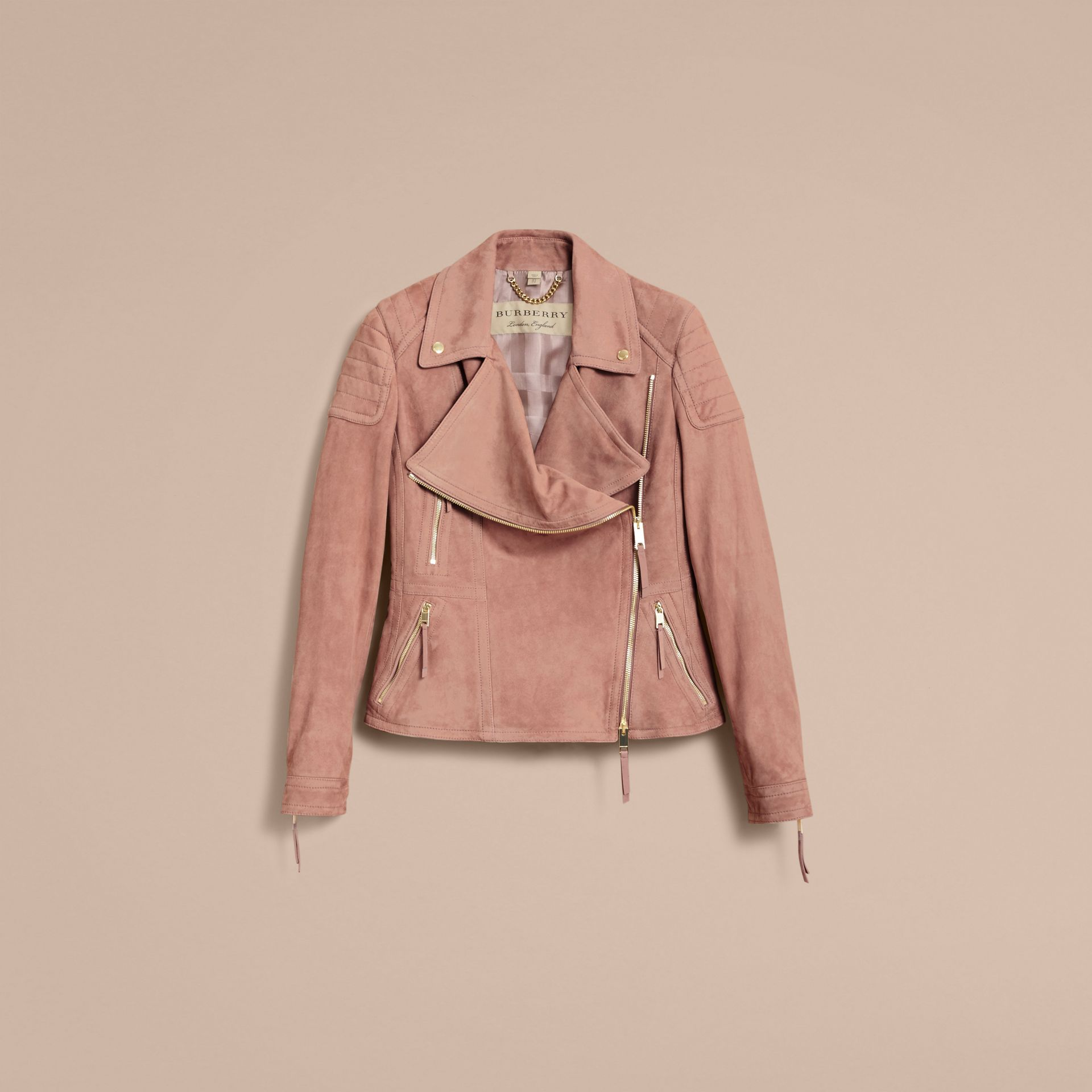 Ribbed Panel Suede Biker Jacket in Pale Antique Rose - Women | Burberry - gallery image 4