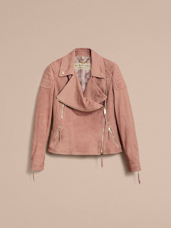 Ribbed Panel Suede Biker Jacket in Pale Antique Rose - Women | Burberry - cell image 3