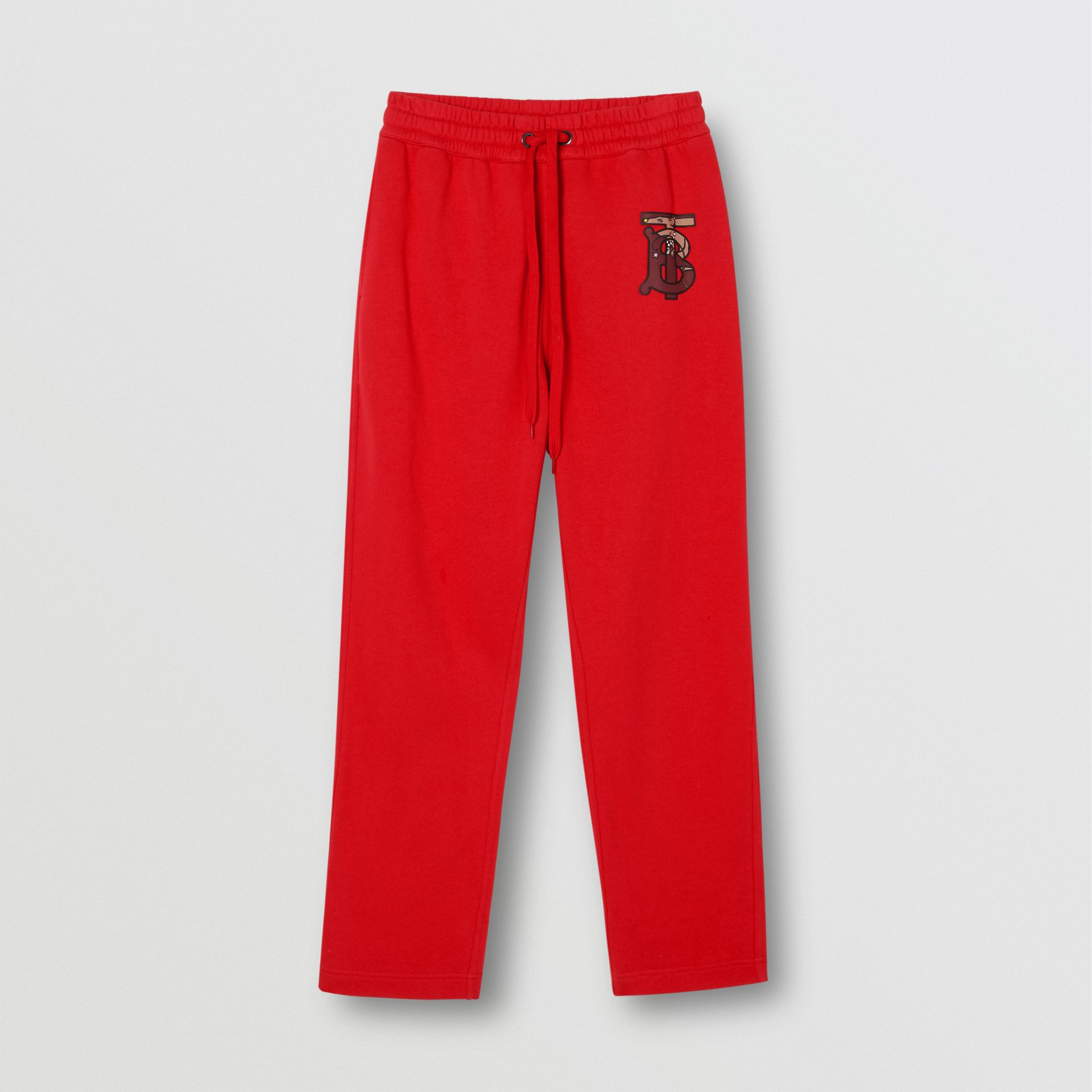 Monogram Motif Cotton Trackpants in Bright Red - Women | Burberry - gallery image 3