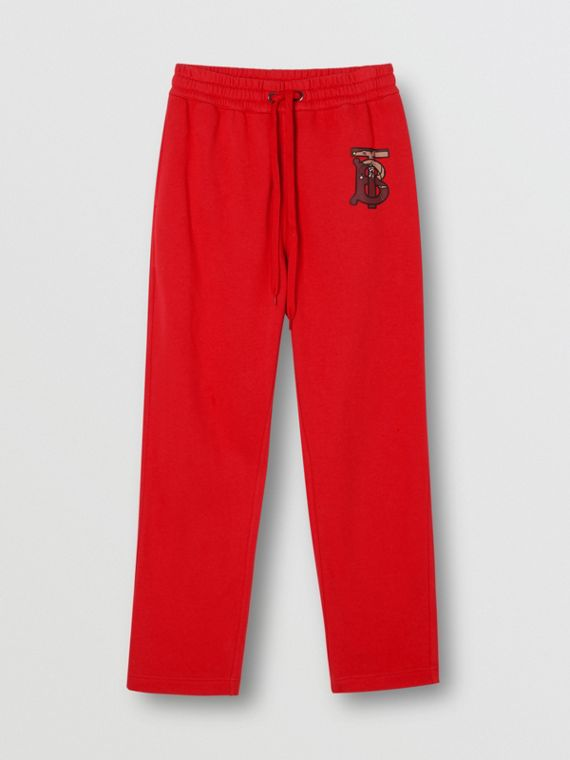 Monogram Motif Cotton Trackpants in Bright Red
