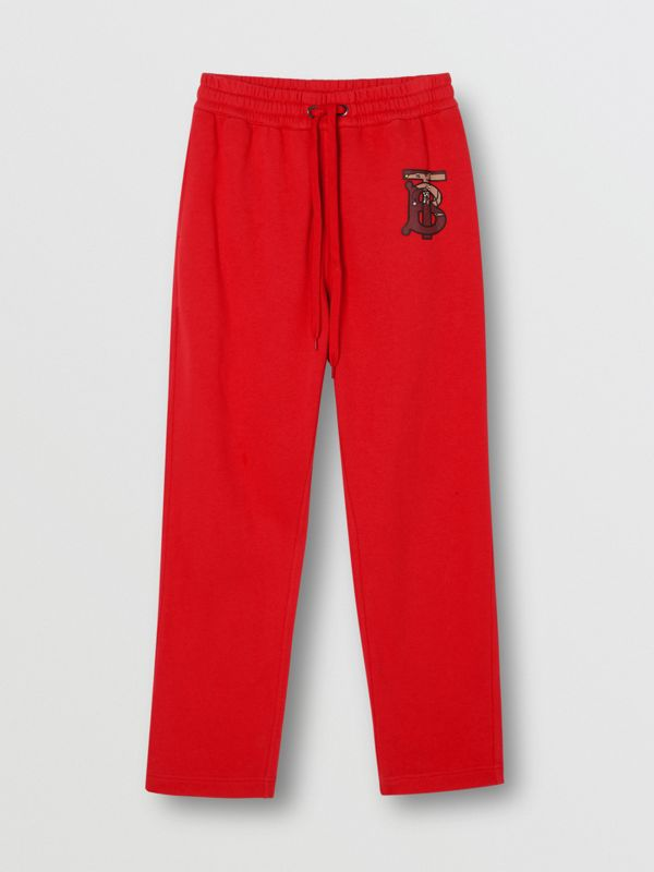 Monogram Motif Cotton Trackpants in Bright Red - Women | Burberry - cell image 3