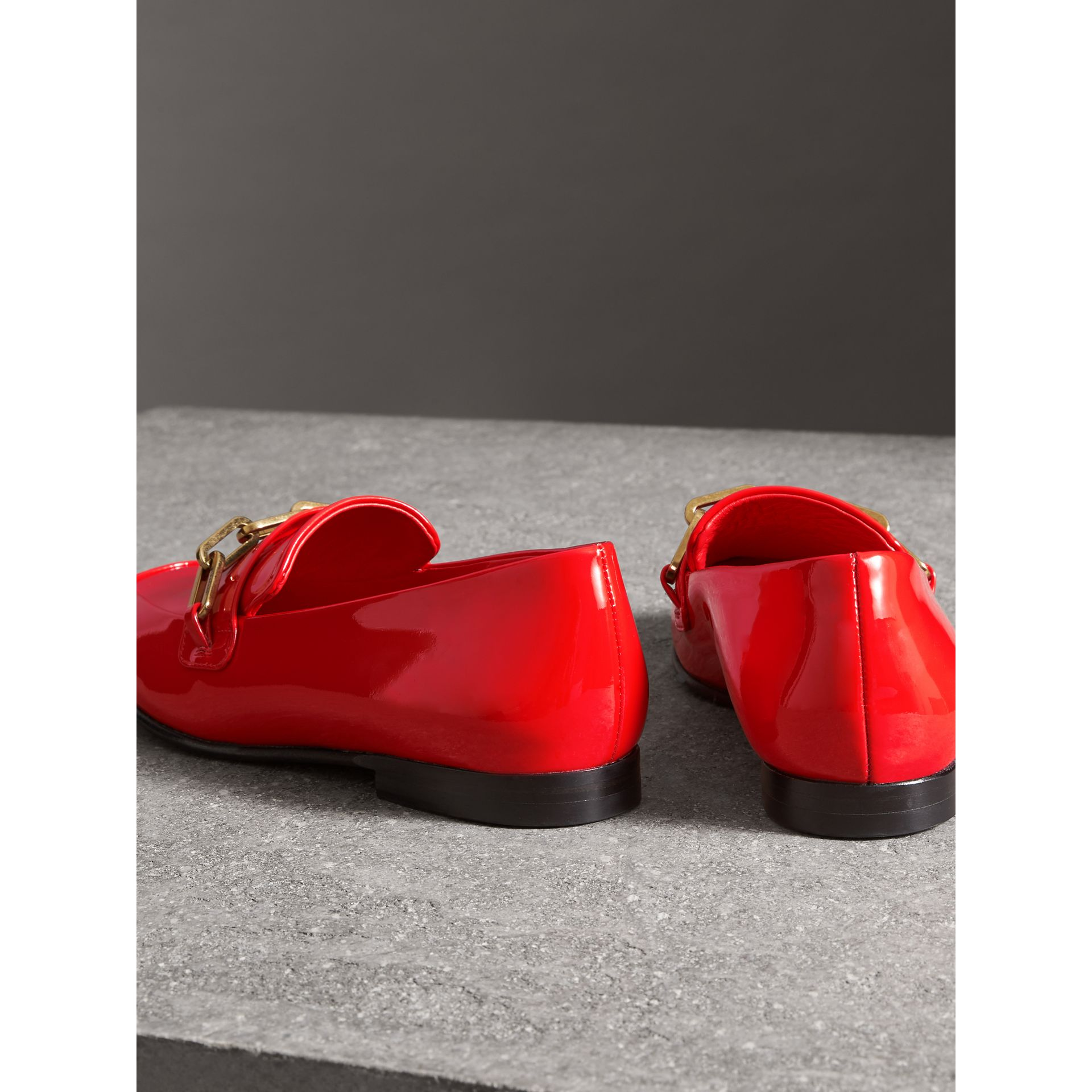 Link Detail Patent Leather Loafers in Bright Red - Women | Burberry - gallery image 3