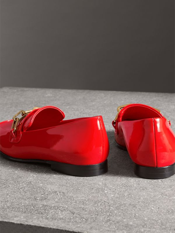 Link Detail Patent Leather Loafers in Bright Red - Women | Burberry United Kingdom - cell image 3