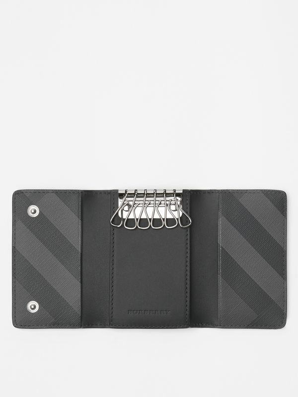 London Check and Leather Key Case in Charcoal/black - Men | Burberry Canada - cell image 2