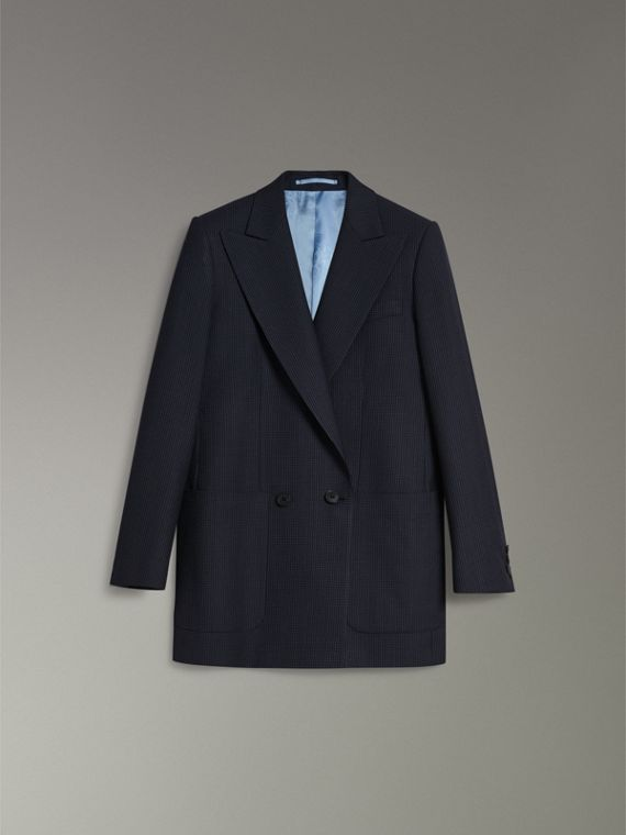 Pin Dot Wool Double-breasted Jacket in Navy - Women | Burberry - cell image 3