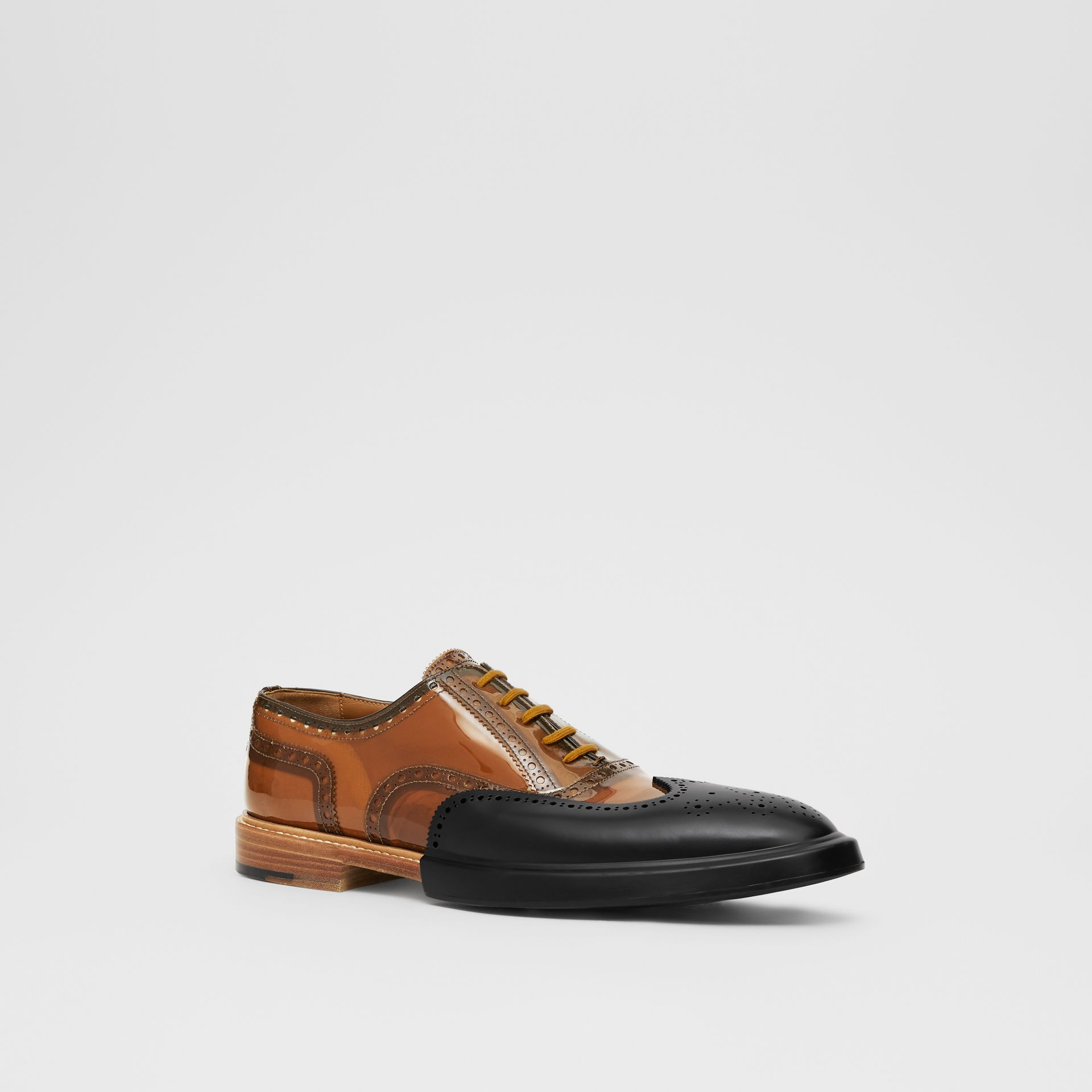 Toe Cap Detail Vinyl and Leather Oxford Brogues in Brown/black - Men | Burberry - gallery image 5