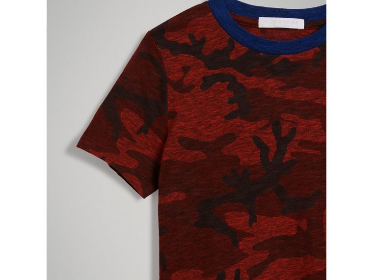 Camouflage Print Jersey T-shirt in Red - Boy | Burberry - cell image 4