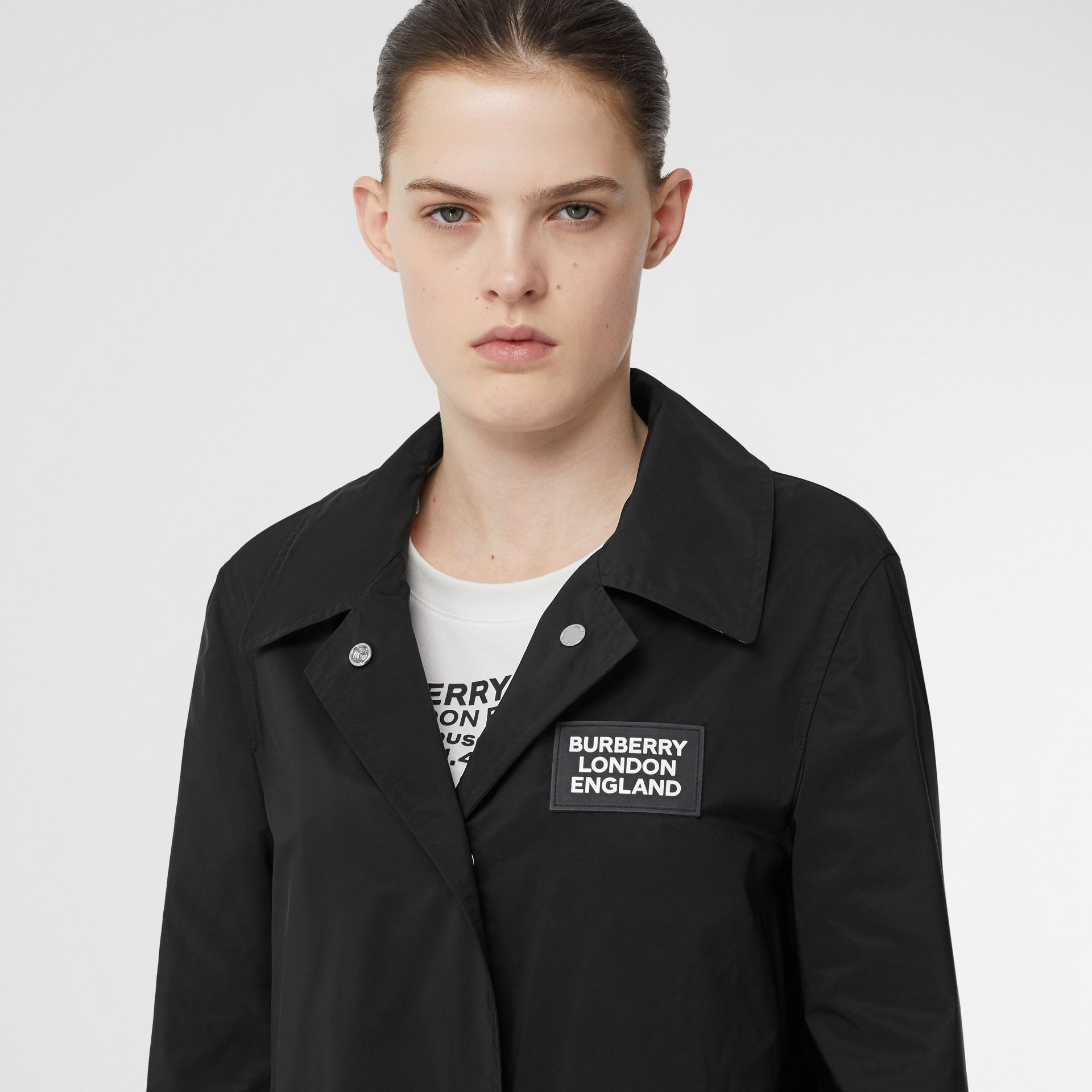 Detachable Hood Shape-memory Taffeta Car Coat in Black - Women | Burberry United Kingdom - gallery image 4