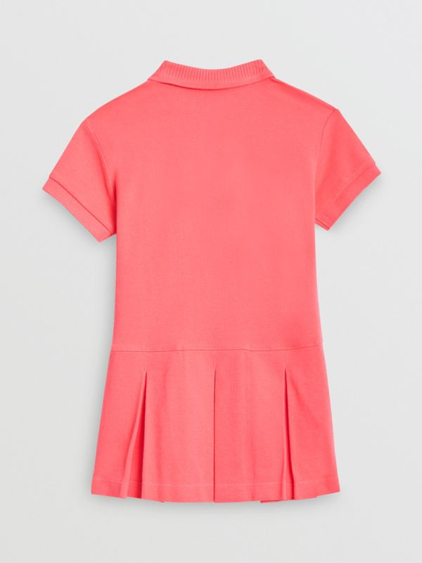 EKD Logo Cotton Polo Dress in Bright Pink | Burberry Singapore - cell image 3