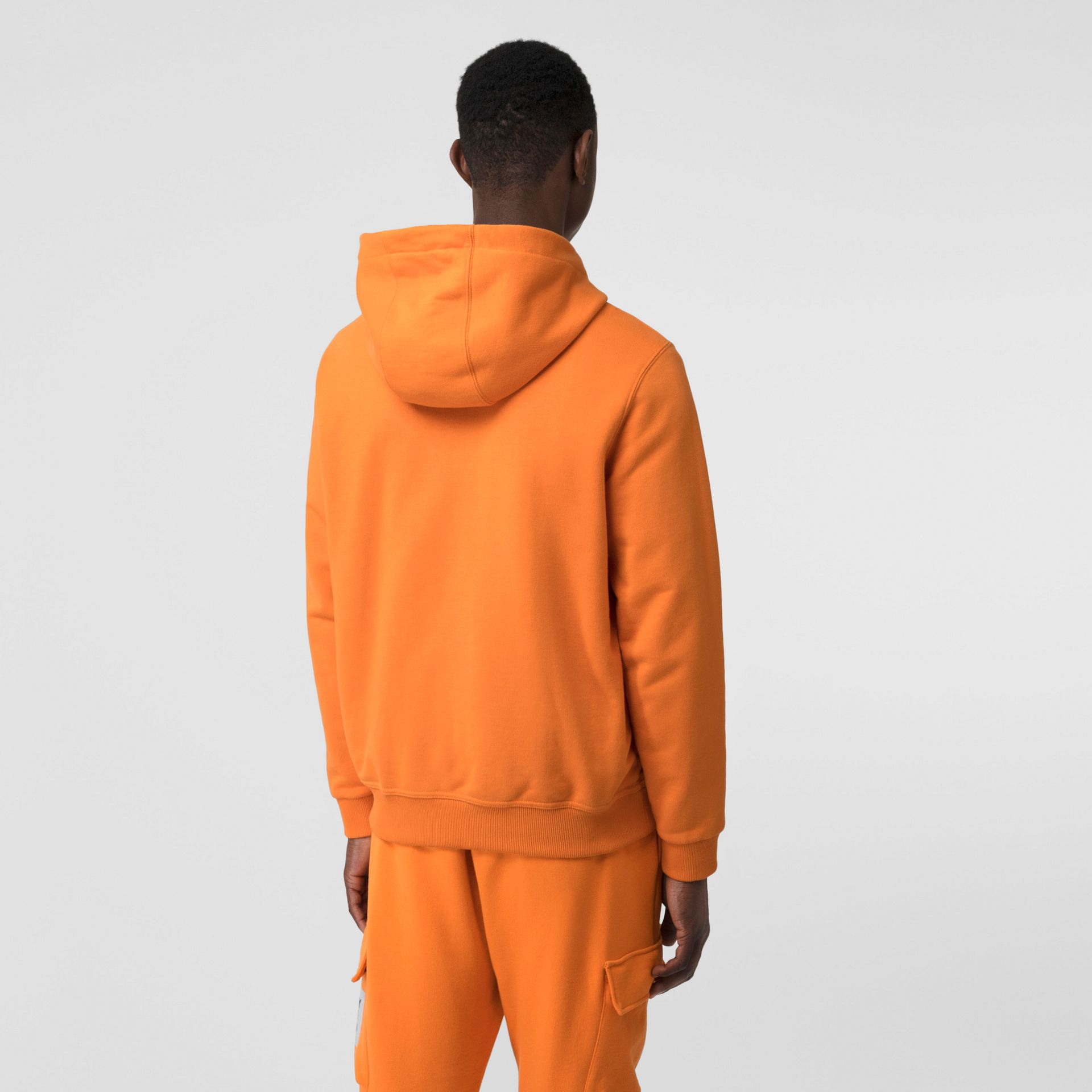 Logo Print Cotton Hoodie in Bright Orange - Men | Burberry - gallery image 2