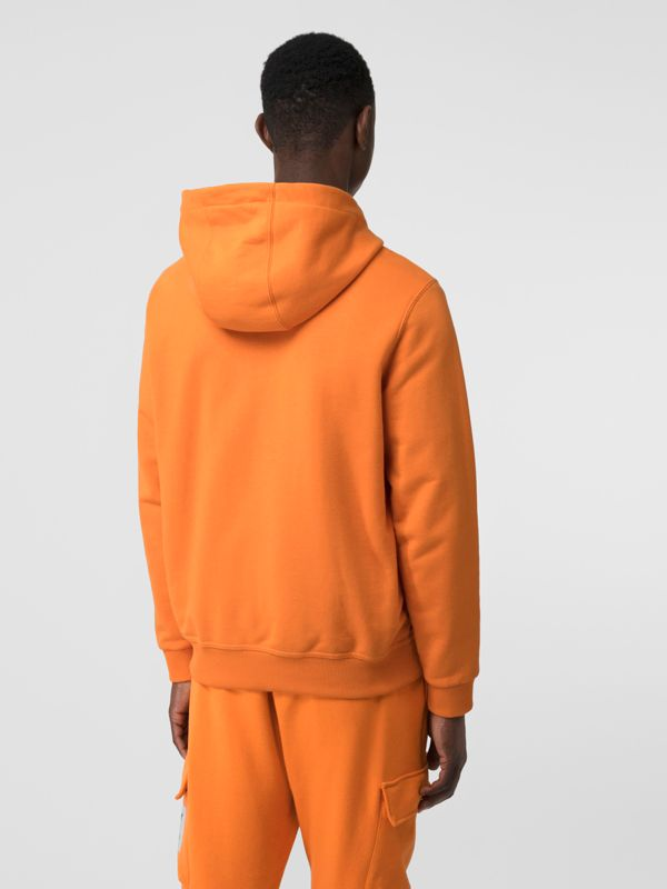 Logo Print Cotton Hoodie in Bright Orange - Men | Burberry United Kingdom - cell image 2