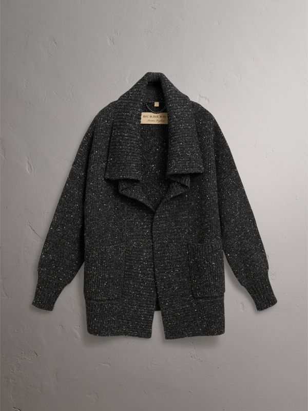 Wool Cashmere Blend Oversized Cardigan in Black - Women | Burberry - cell image 3