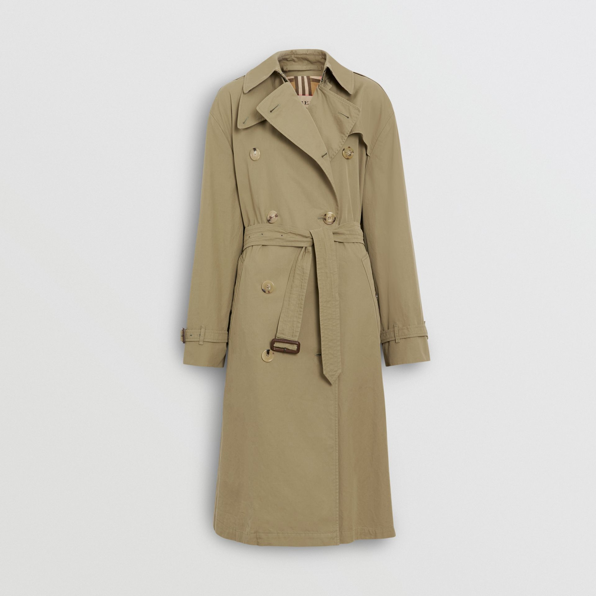 Relaxed Fit Tropical Gabardine Trench Coat in Vintage Green - Women | Burberry United States - gallery image 3