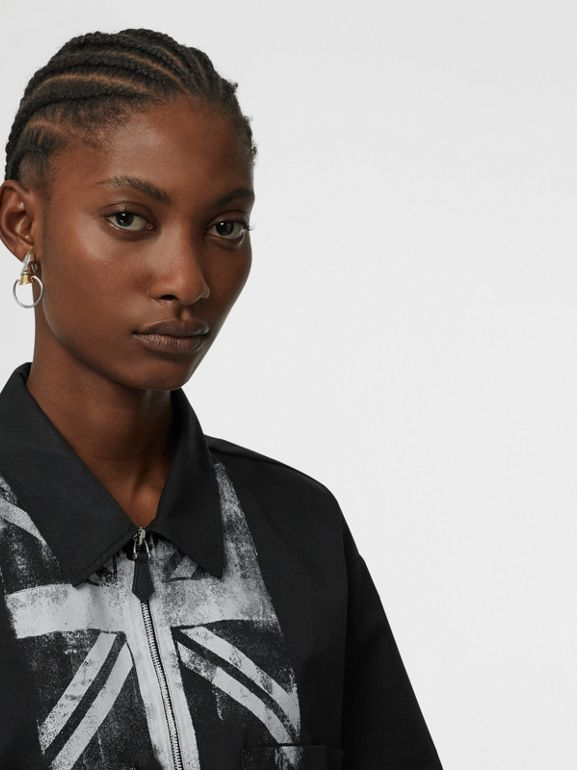 Short-sleeve Union Jack Print Cotton Shirt in Black - Women | Burberry - cell image 1