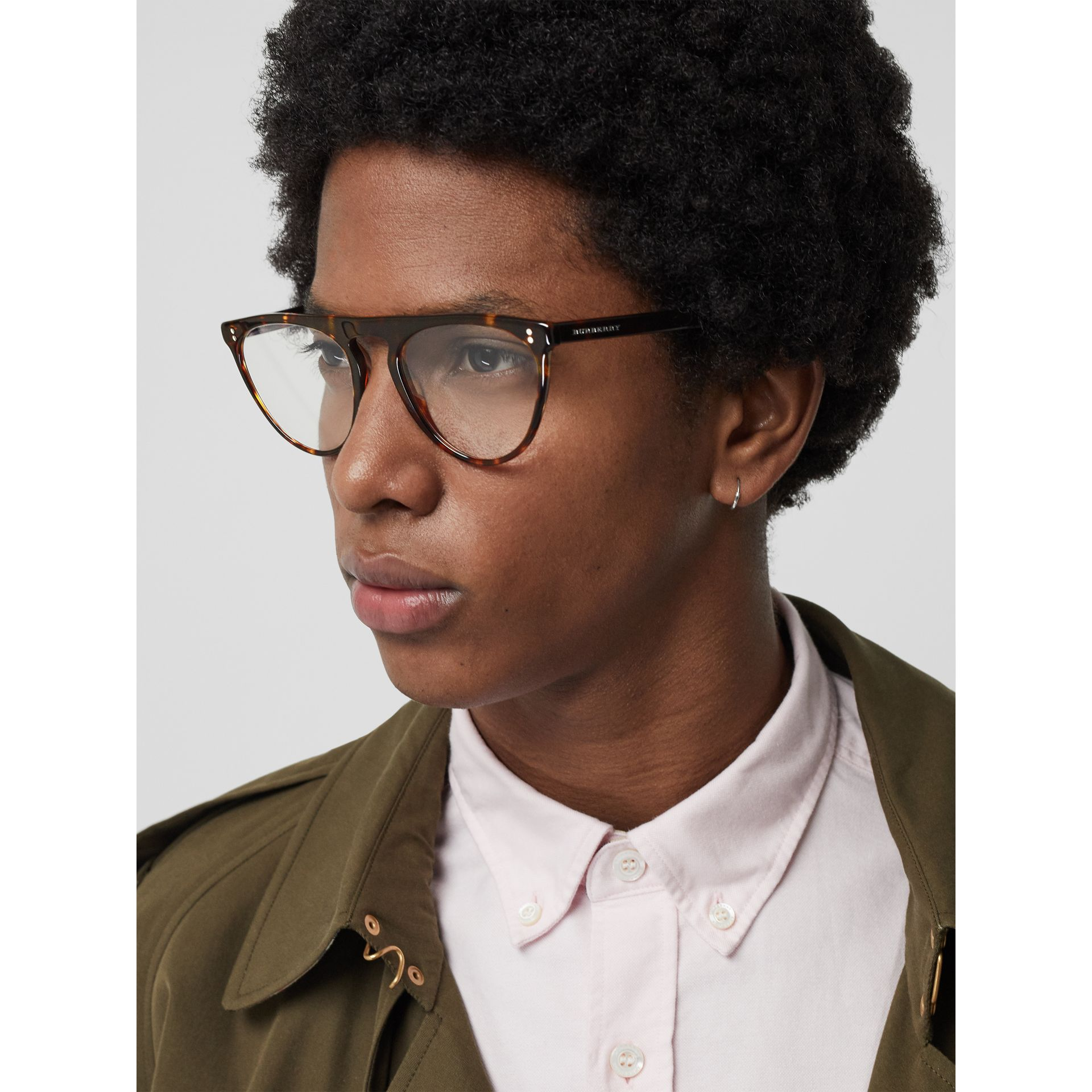 Keyhole D-shaped Optical Frames in Tortoise Shell - Men | Burberry United Kingdom - gallery image 2
