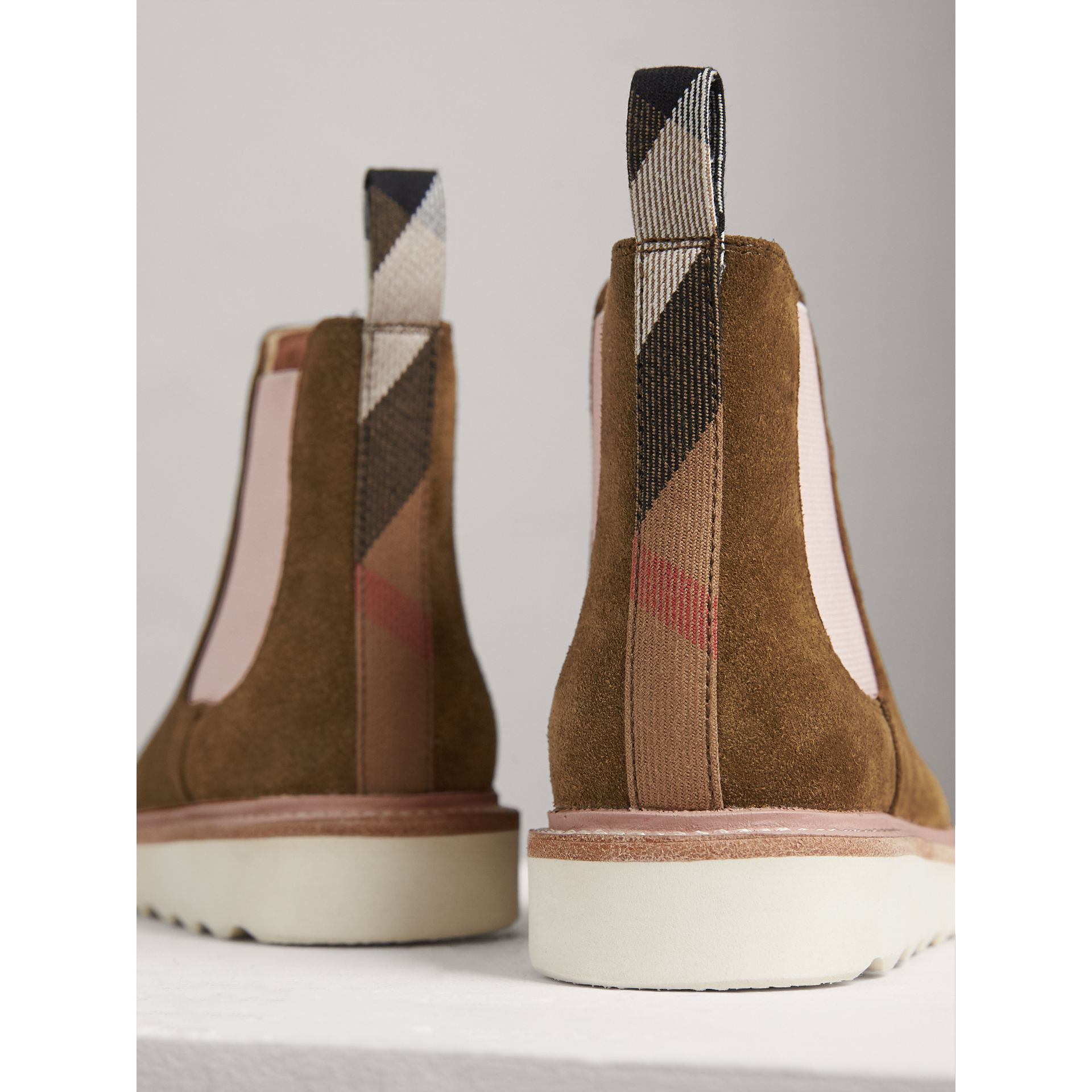 Two-tone Suede Chelsea Boots in Sandstone - Girl | Burberry - gallery image 3