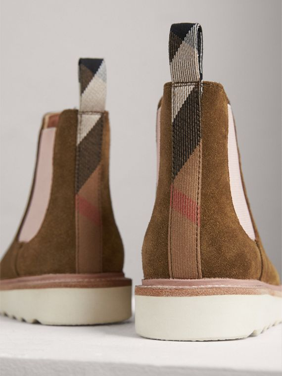 Two-tone Suede Chelsea Boots in Sandstone - Girl | Burberry Singapore - cell image 2