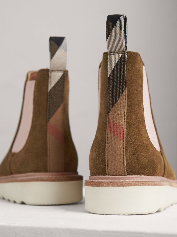 Two-tone Suede Chelsea Boots in Sandstone | Burberry - cell image 2