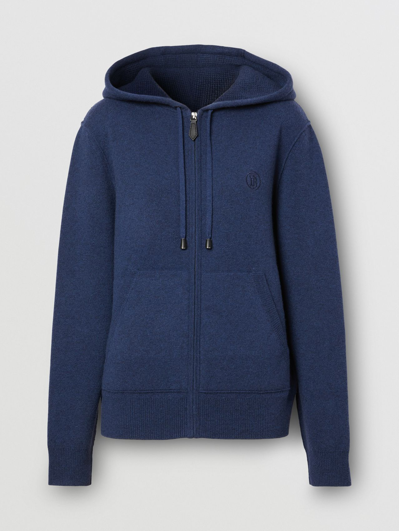Monogram Motif Cashmere Blend Hooded Top in Ink Blue