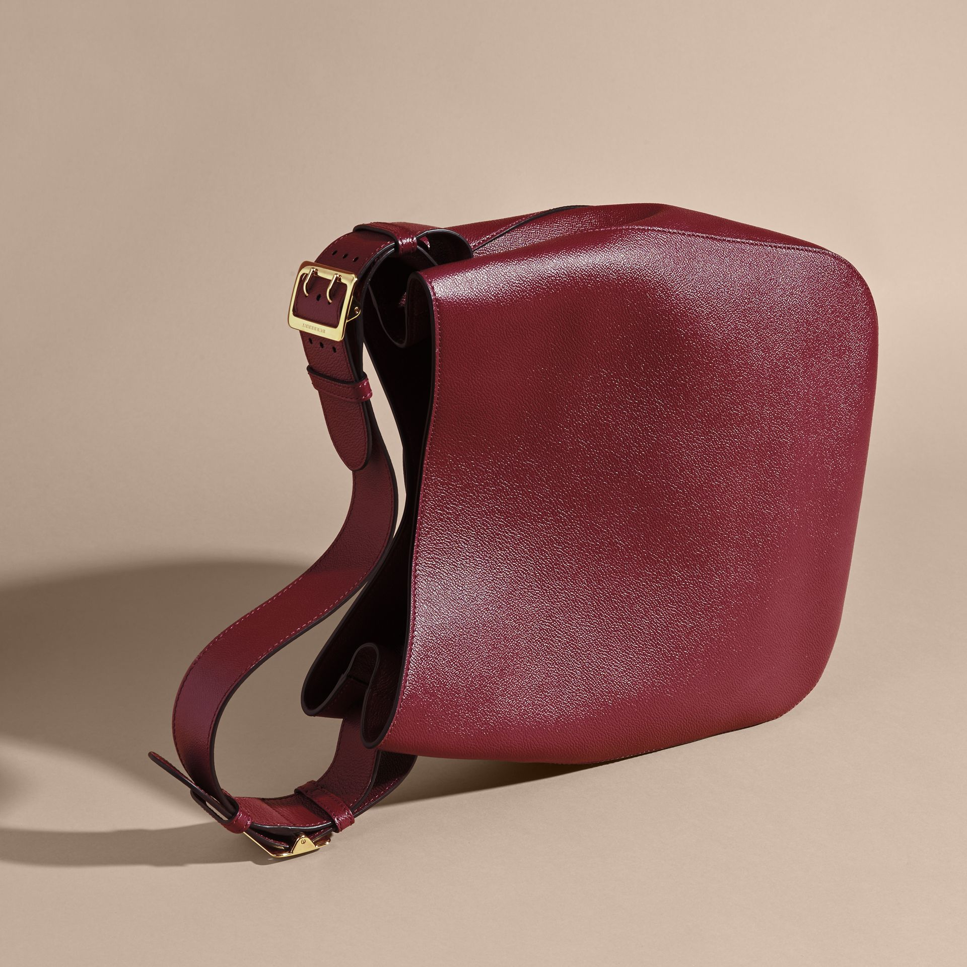 Textured Leather Shoulder Bag Dark Plum - gallery image 4