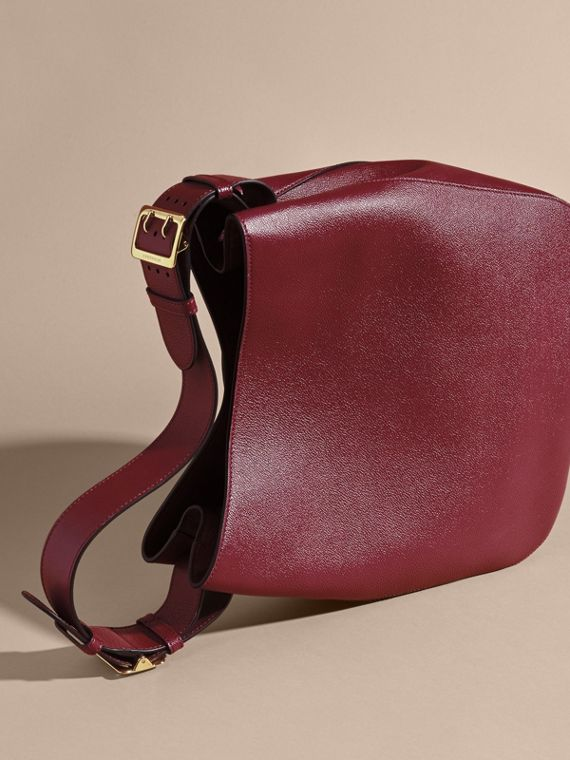 Textured Leather Shoulder Bag in Dark Plum - cell image 3