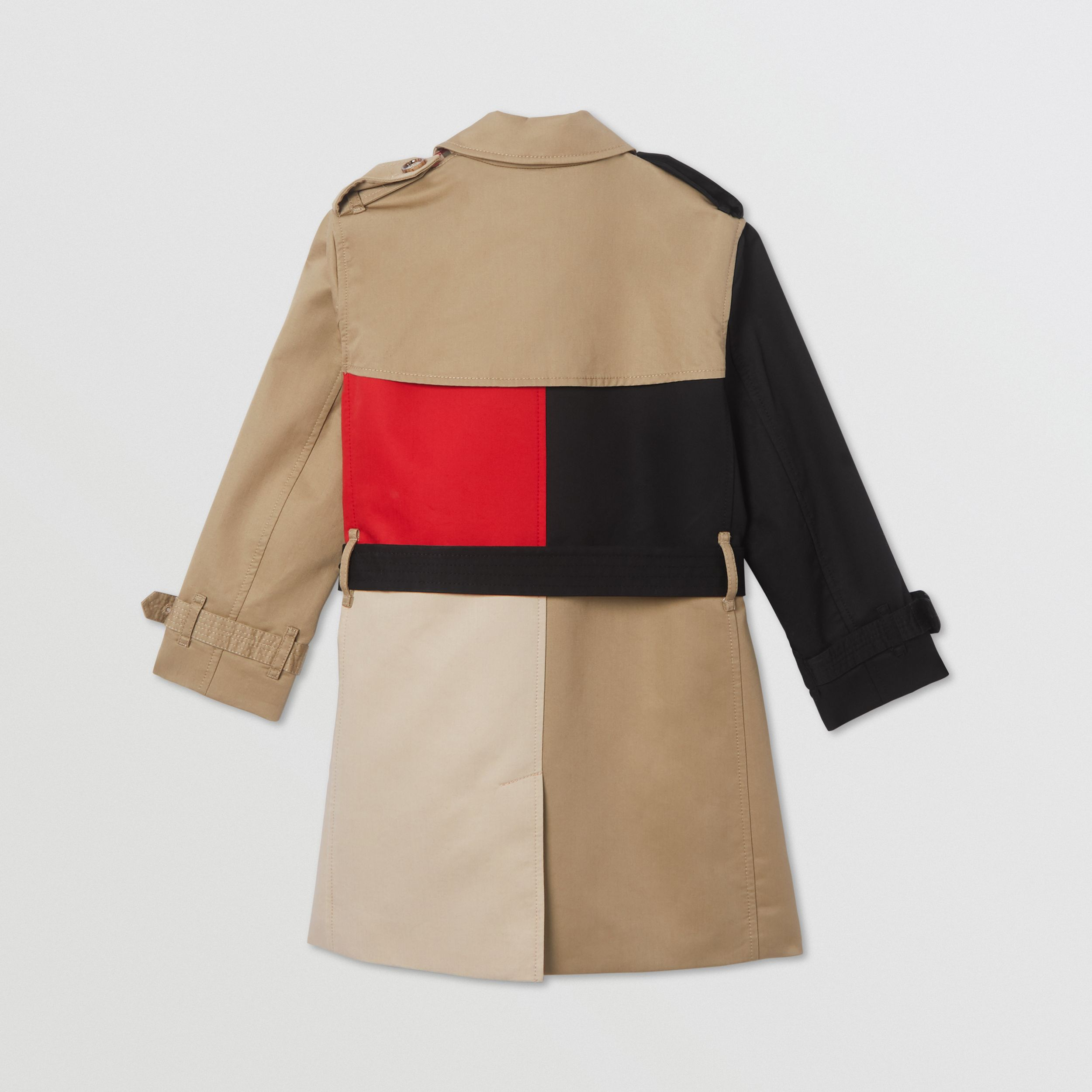 Colour Block Cotton Twill Trench Coat in Honey | Burberry - 4