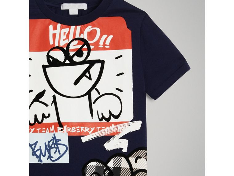 Graffiti Ticket Print Cotton T-shirt in Navy - Boy | Burberry - cell image 4