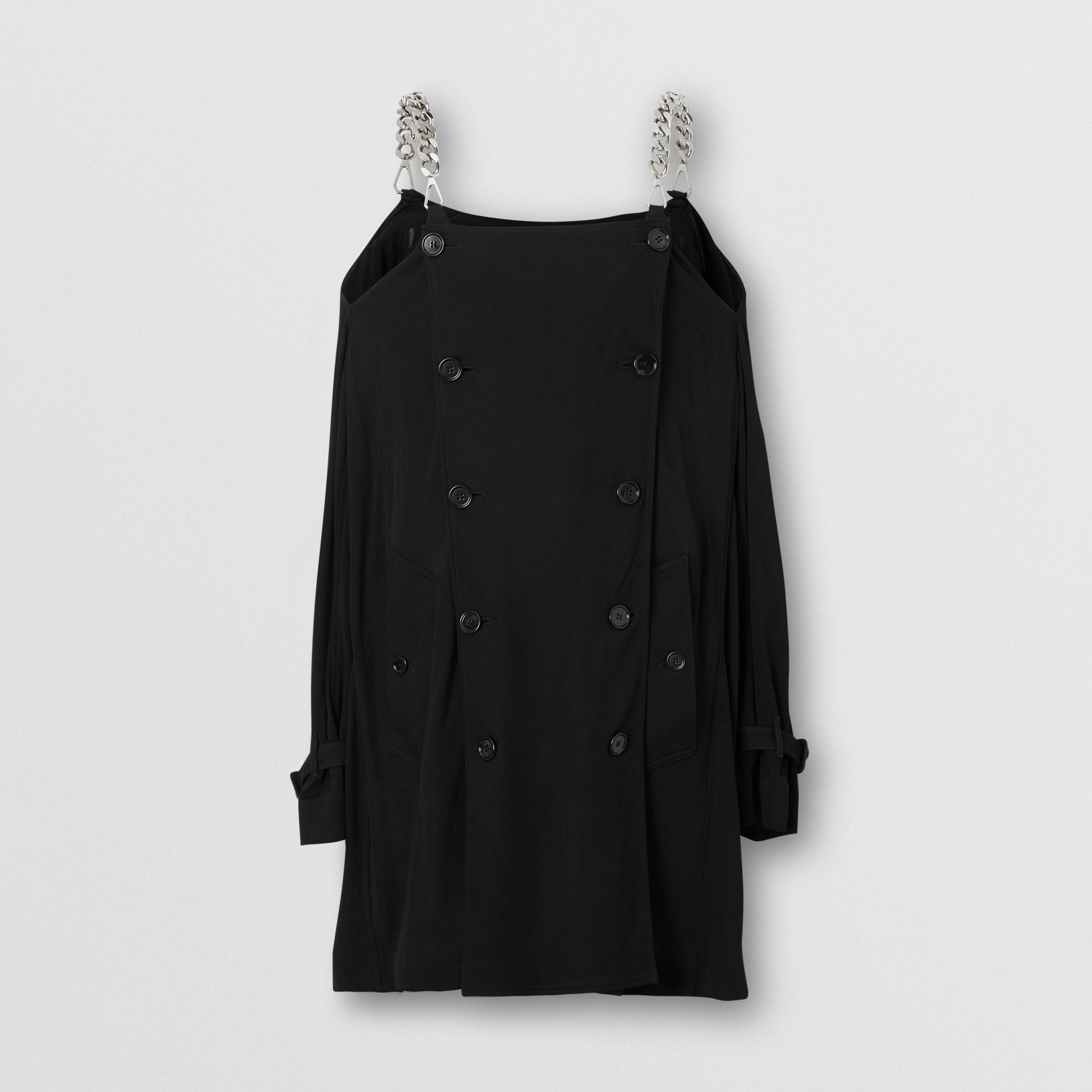 Deconstructed Crepe Trench Coat Dress in Black - Women | Burberry - 3