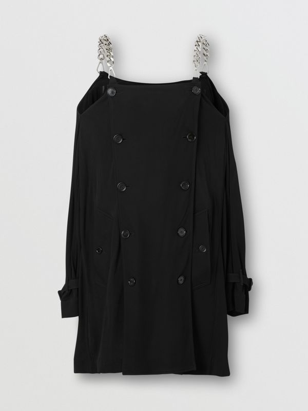 Deconstructed Crepe Trench Coat Dress in Black - Women | Burberry - cell image 3