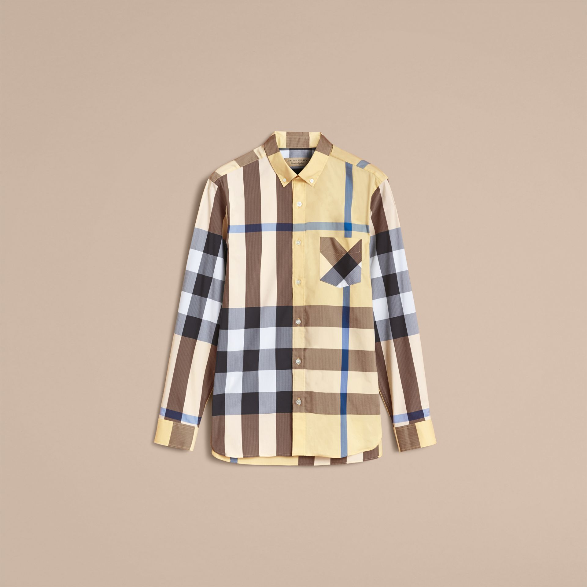 Button-down Collar Check Stretch Cotton Blend Shirt in Pale Yellow - Men | Burberry Singapore - gallery image 4