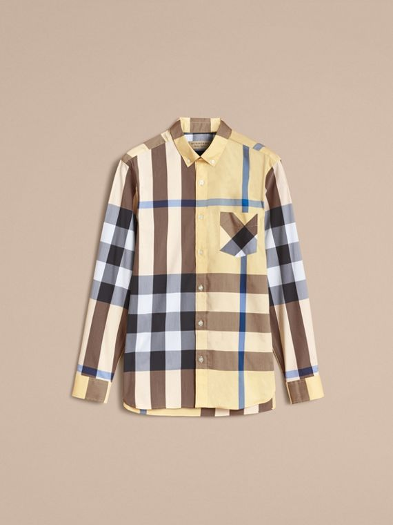 Button-down Collar Check Stretch Cotton Blend Shirt in Pale Yellow - Men | Burberry - cell image 3