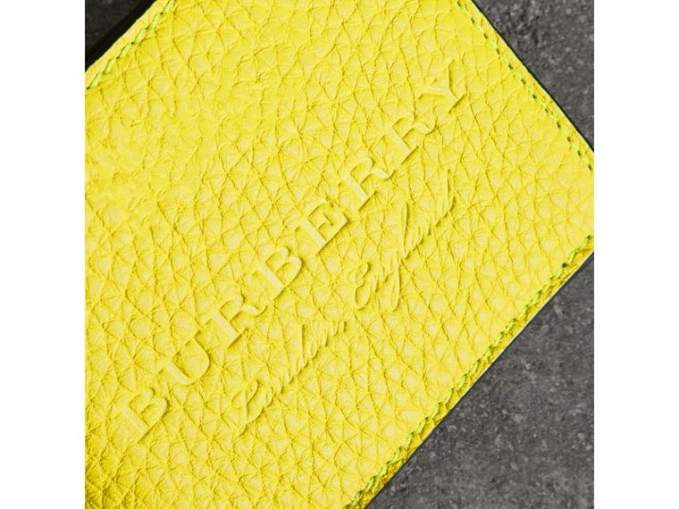 Embossed Leather Bifold Wallet in Neon Yellow - Men | Burberry United States - cell image 1