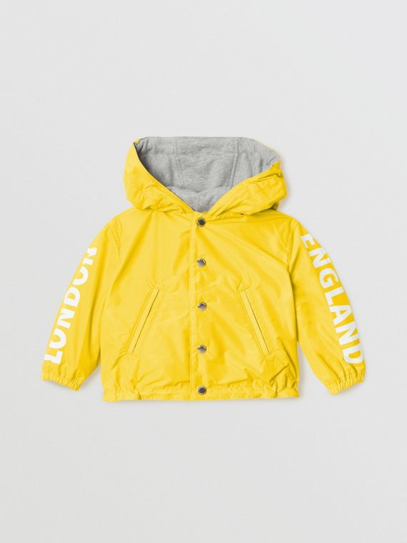 Logo Print Reversible Hooded Jacket in Bright Yellow