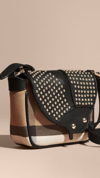 Canvas Check and Studded Ladybird Leather Crossbody Bag