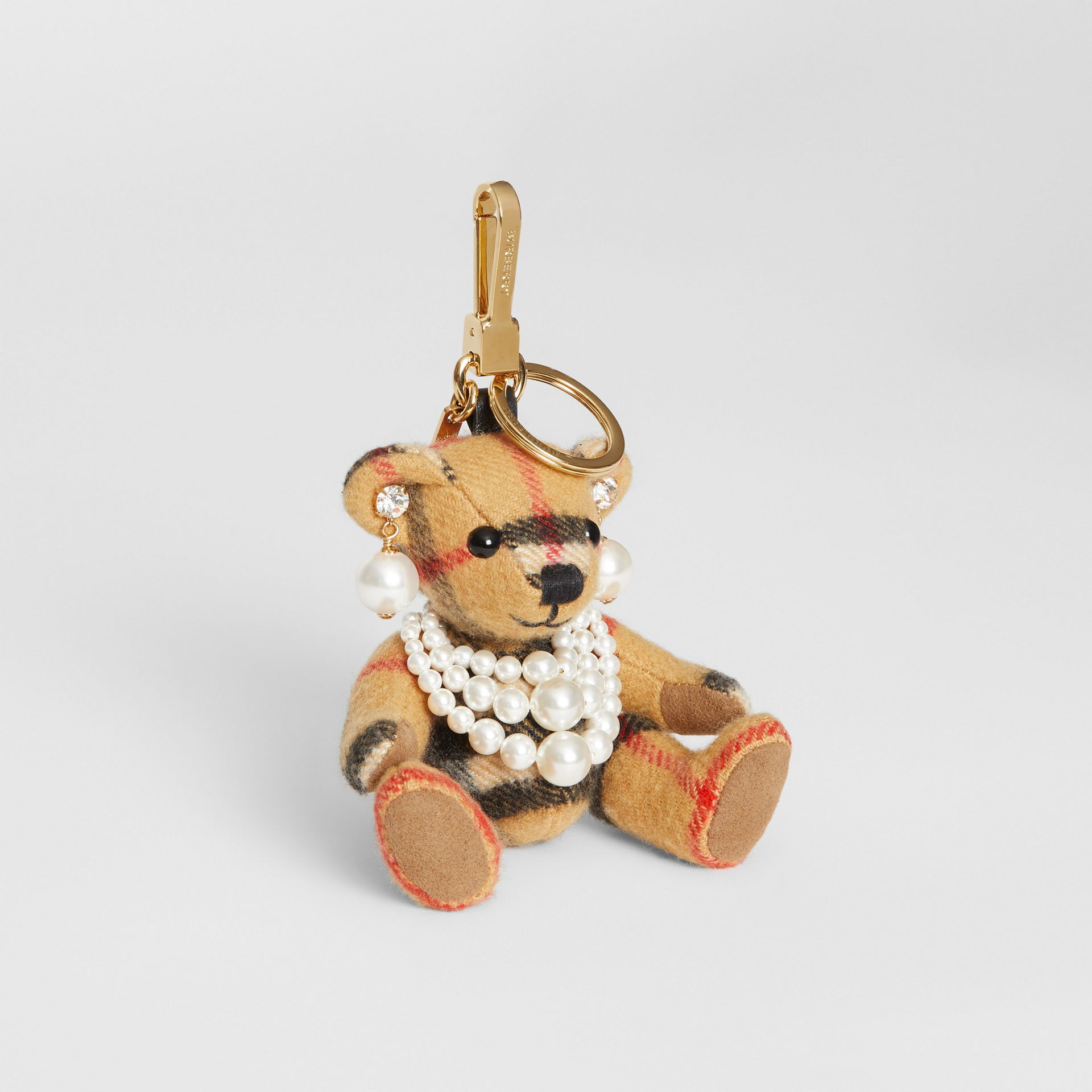 Thomas Bear Charm with Faux Pearls in Antique Yellow - Women | Burberry United Kingdom - gallery image 0