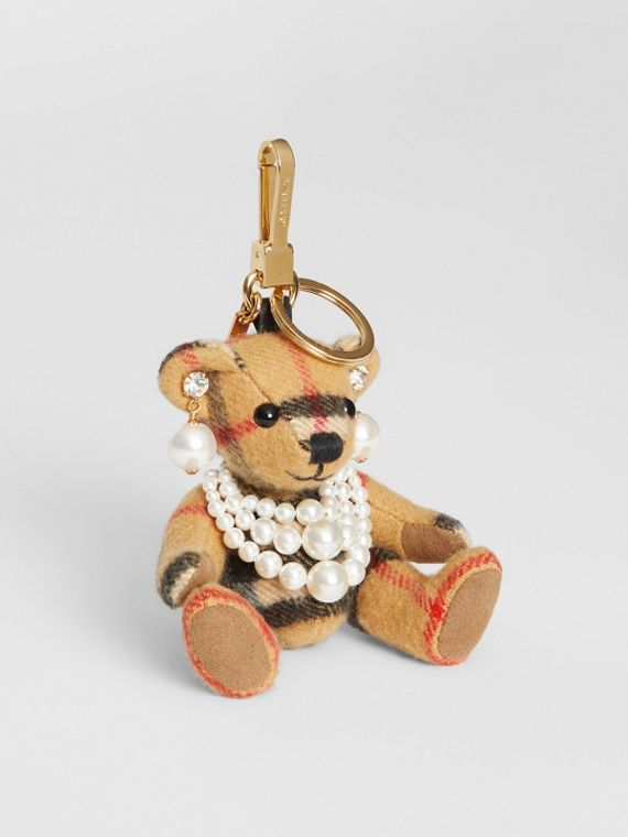 Thomas Bear Charm with Faux Pearls in Antique Yellow