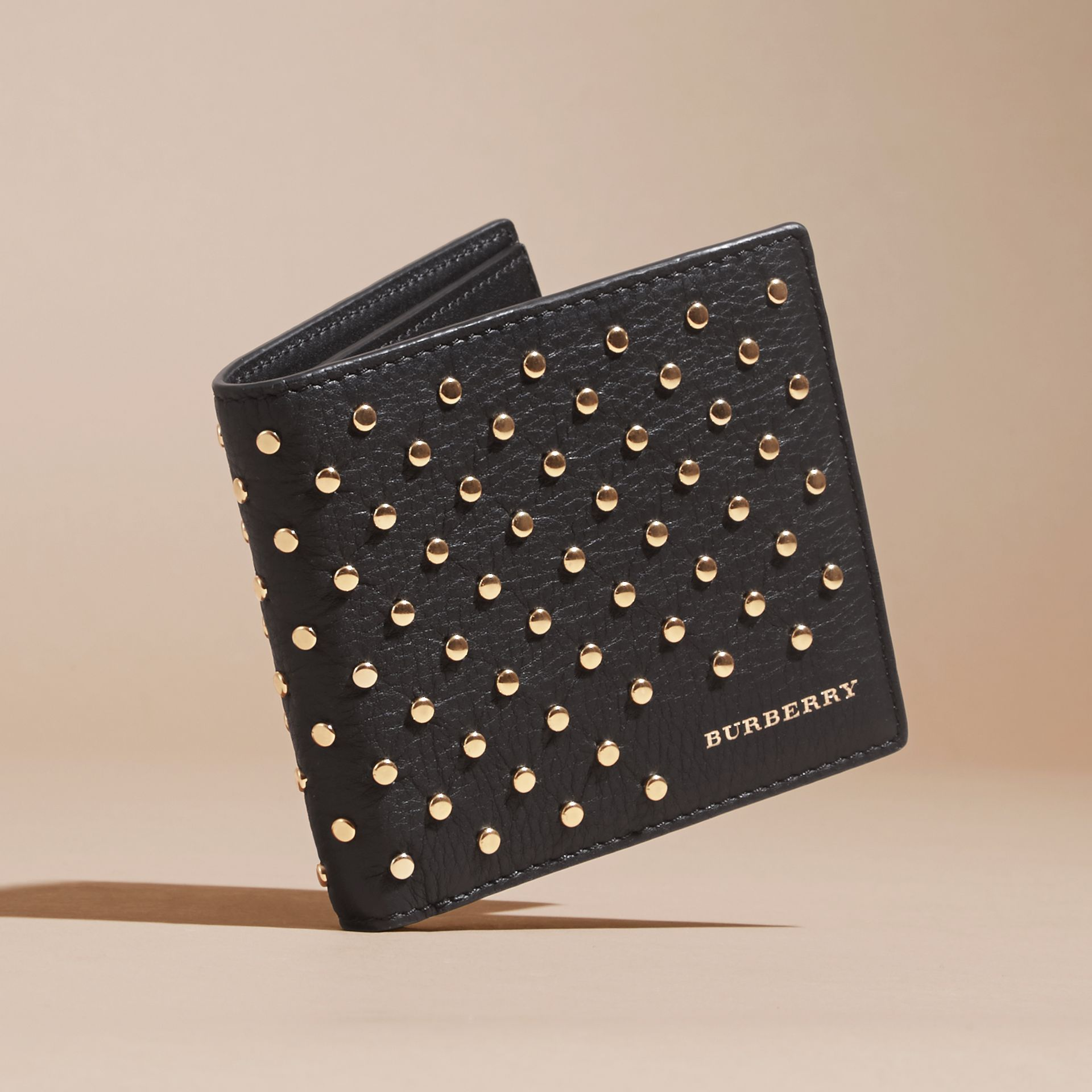 Black Studded Leather Folding Wallet - gallery image 3