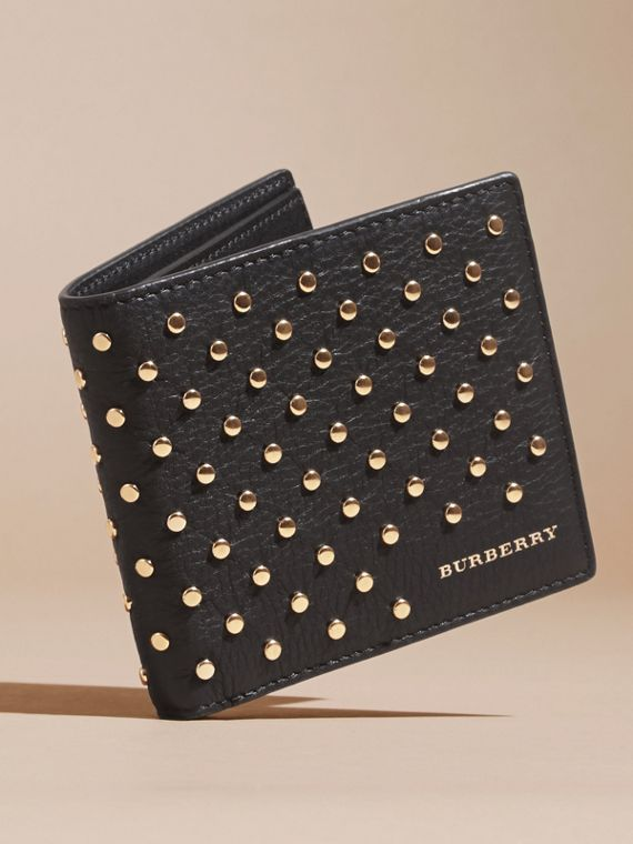 Black Studded Leather Folding Wallet - cell image 2