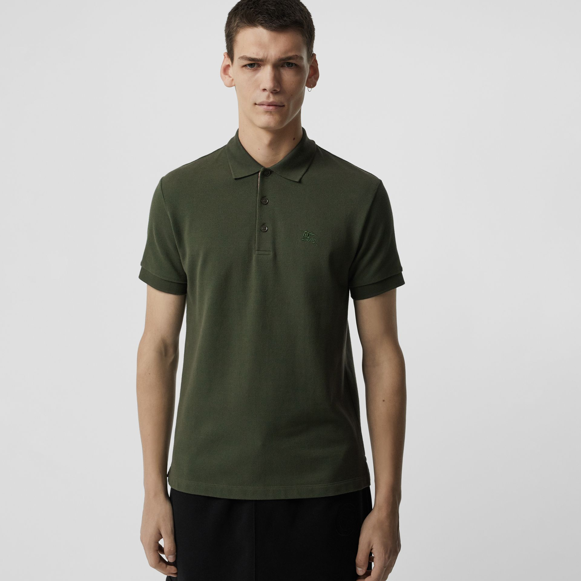 Check Placket Cotton Polo Shirt in Dark Antique Green - Men | Burberry - gallery image 0