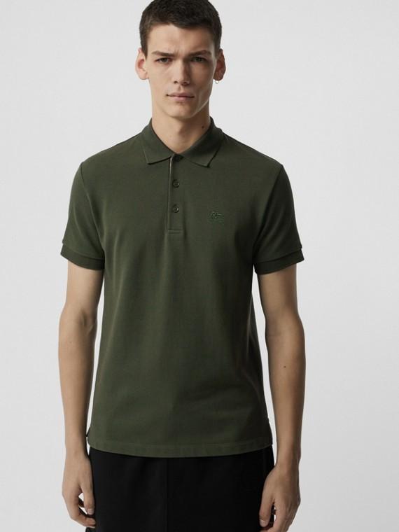 Camisa polo de algodão com tira de botões xadrez (Verde Antigo Escuro)