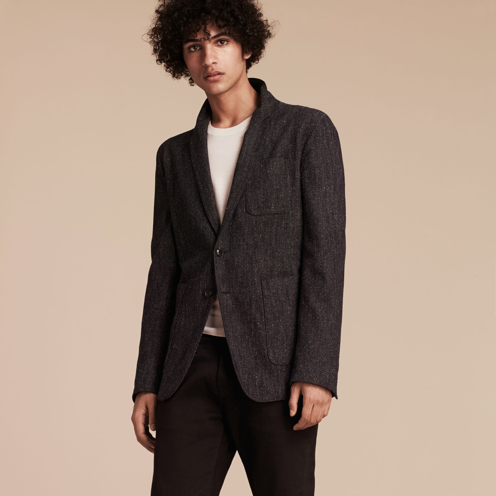 Charcoal blue Cotton Silk Tweed Tailored Jacket - gallery image 6
