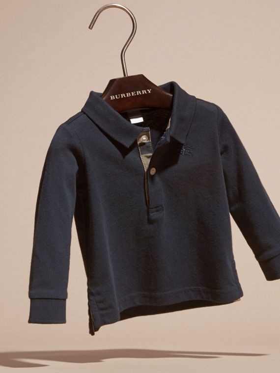 Polo in cotone a maniche lunghe con finiture check (Vero Navy) | Burberry - cell image 2