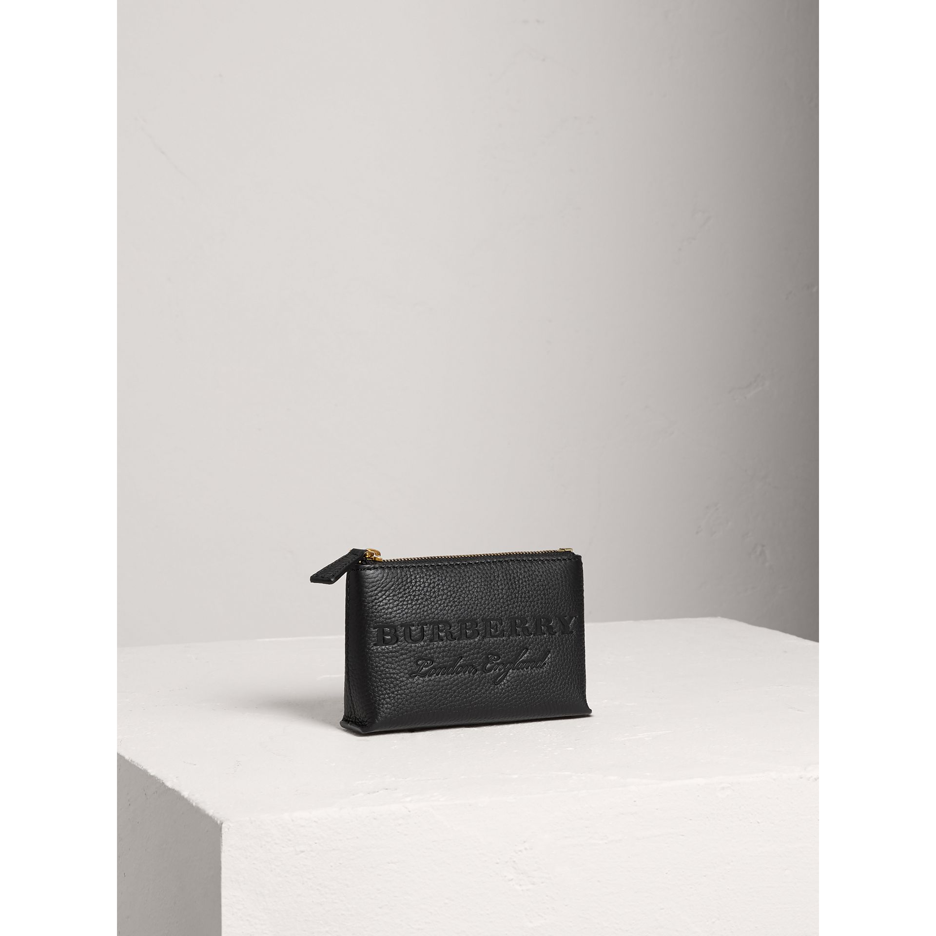 Small Embossed Leather Zip Pouch in Black | Burberry Australia - gallery image 4