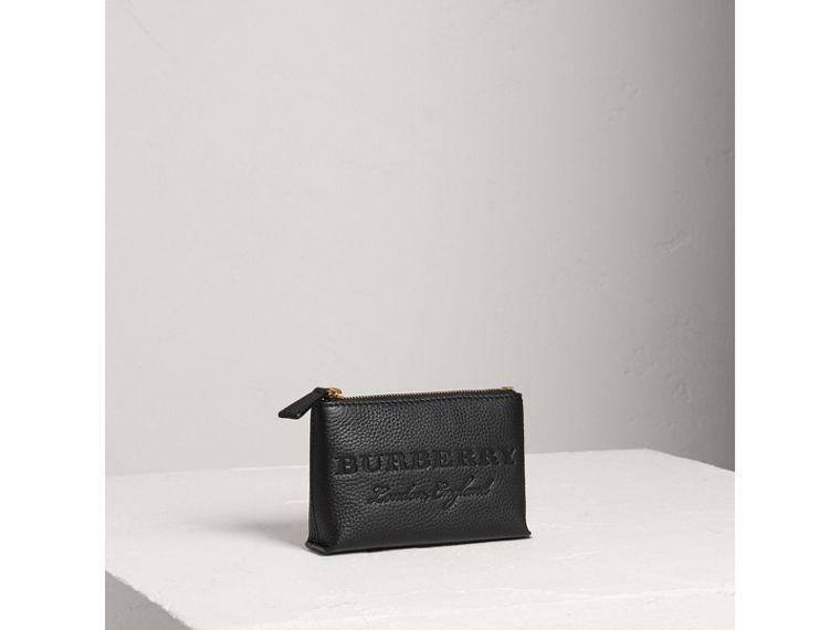 Small Embossed Leather Zip Pouch in Black | Burberry Australia - cell image 4