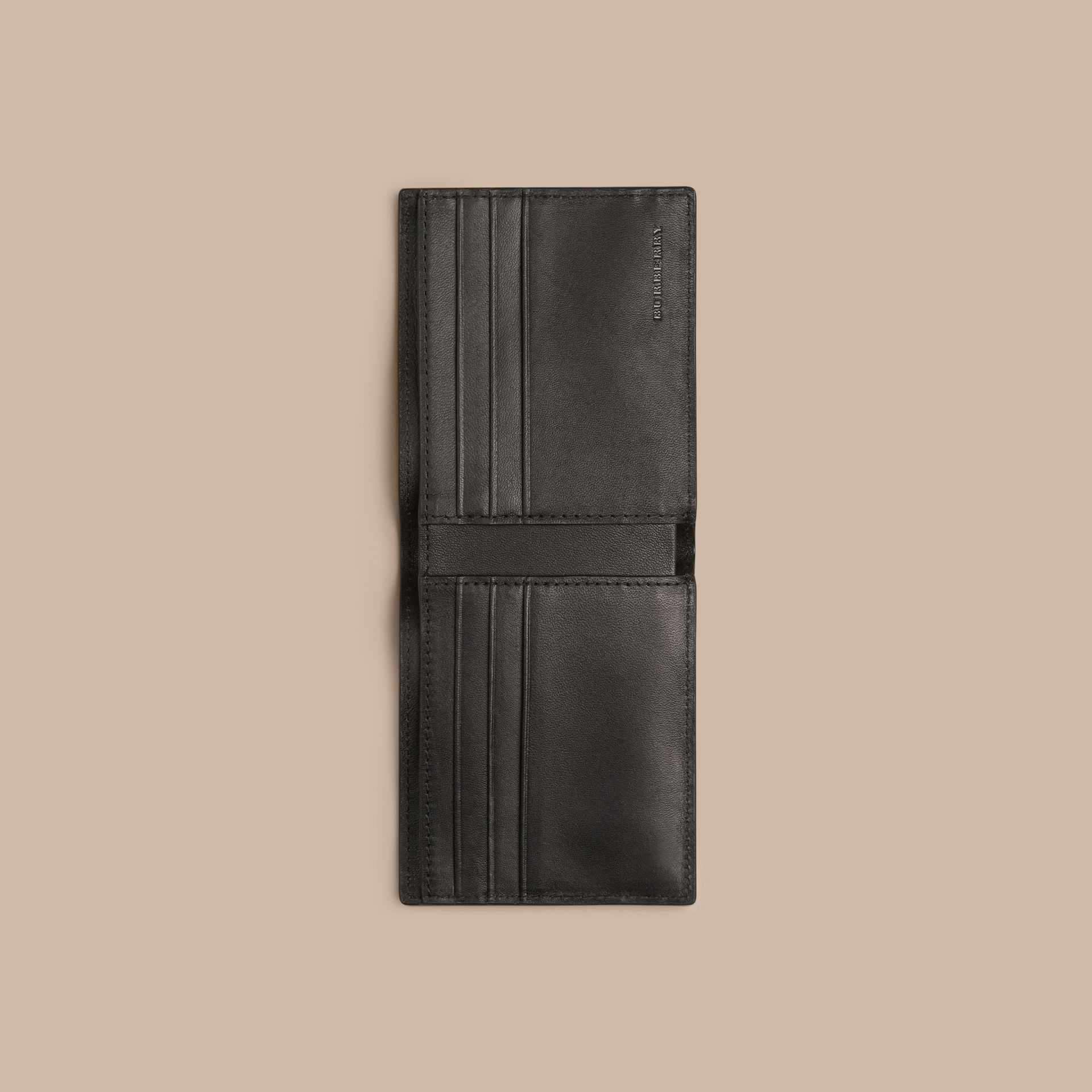 London Check and Leather Bifold Wallet in Chocolate/black - gallery image 4